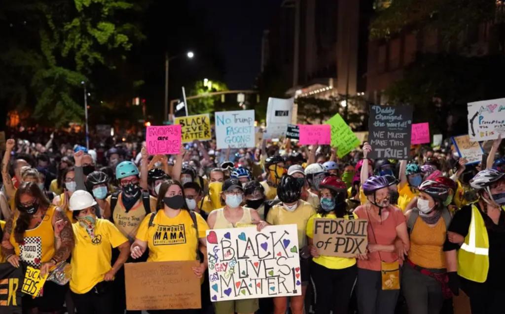 Protesting moms in Portland, OR